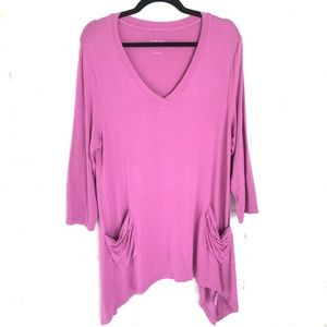 LOGO Tunic 3/4 Sleeve Purple Vneck Large R69
